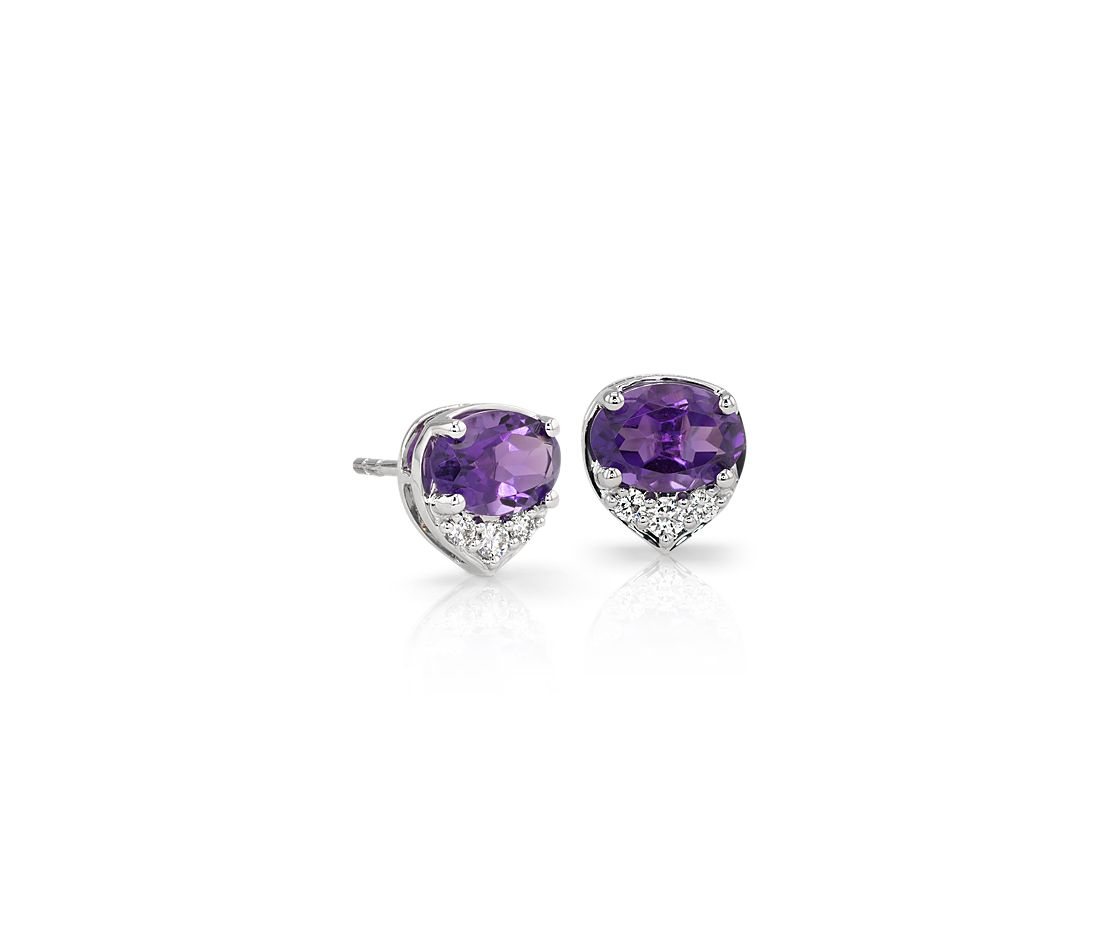Oval Amethyst and Diamond Stud Earrings in 14k White Gold (7x5 mm)