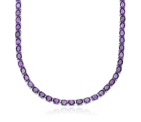 Oval Amethyst Eternity Necklace in Sterling Silver (5x4mm)