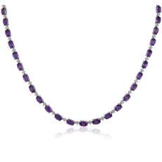 新款 925 純銀橢圓形紫水晶永恆項鍊