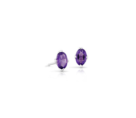 oval gold february white stud earrings birthston amethyst