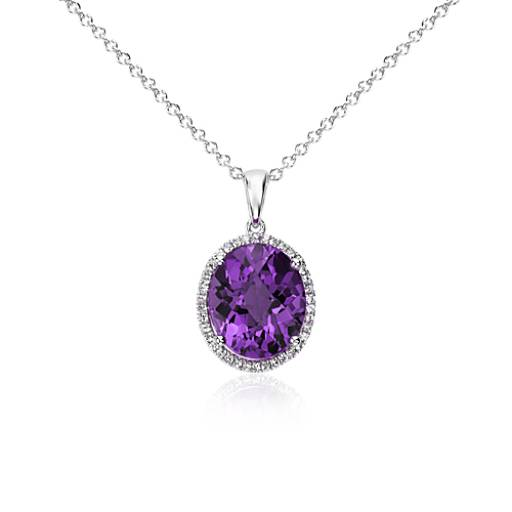 Amethyst and white sapphire halo oval pendant in sterling silver amethyst and white sapphire halo oval pendant in sterling silver 12x10mm blue nile mozeypictures Images