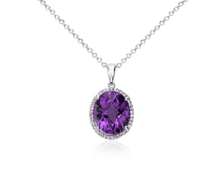 qp oval gold ct necklace amethyst pendant in