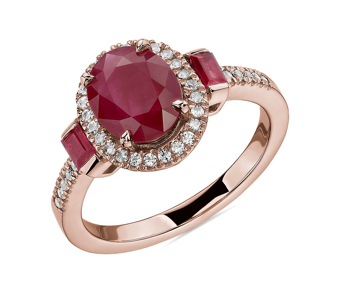 Oval and Baguette Ruby Ring in 14k Rose Gold