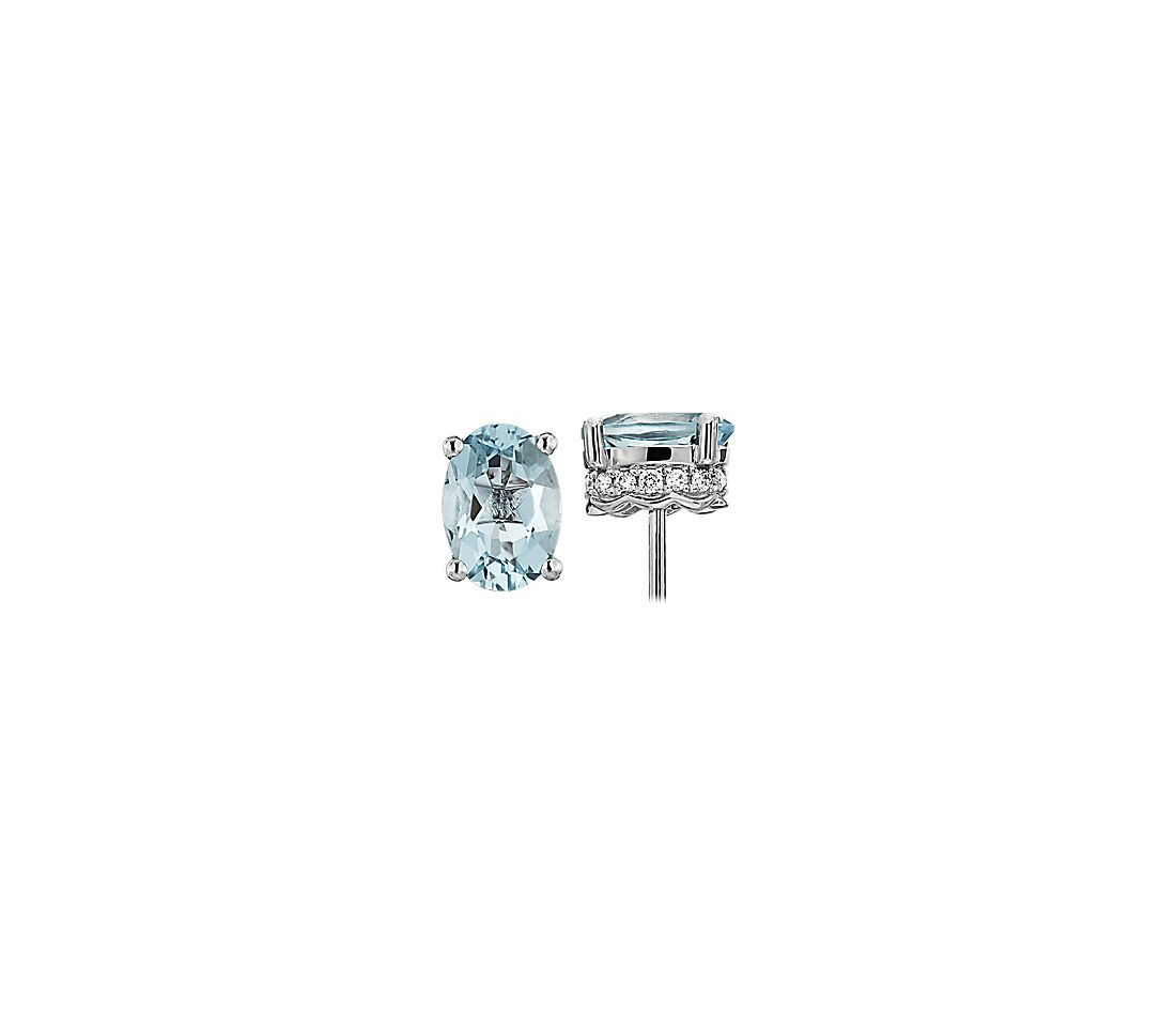 Oval Aquamarine and Diamond Earrings in 14k White Gold (7x5mm)