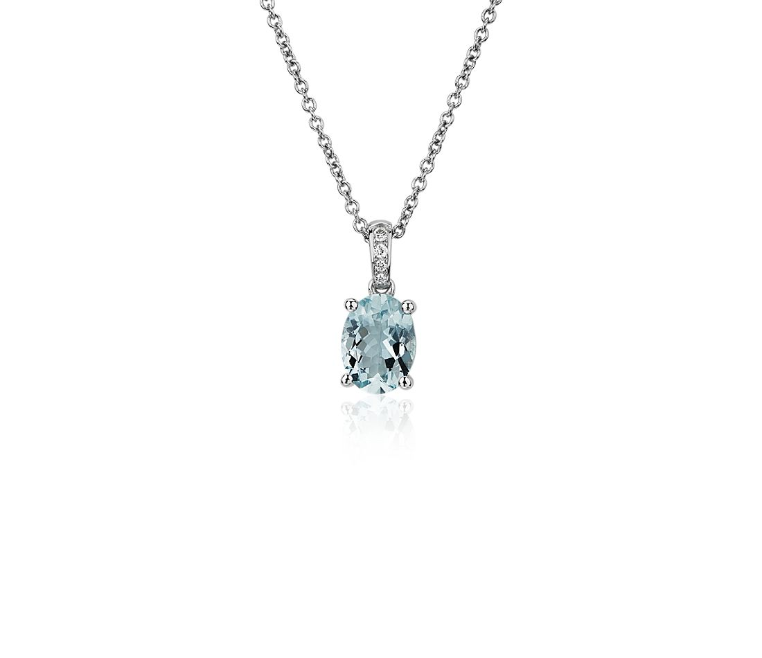 Oval Aquamarine and Diamond Pendant in 14k White Gold (8x6mm)
