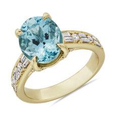 新款 18k 黃金橢圓形海藍寶石時尚戒指
