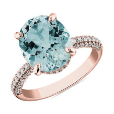 Oval Aquamarine Statement Ring in 14k Rose Gold