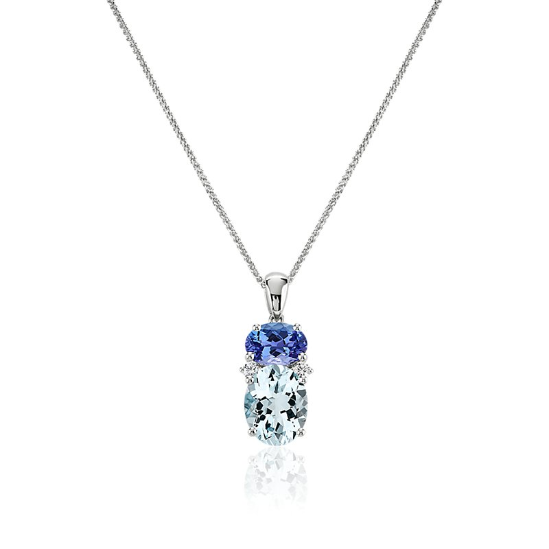 Oval Aquamarine and Tanzanite Pendant in 14k White Gold