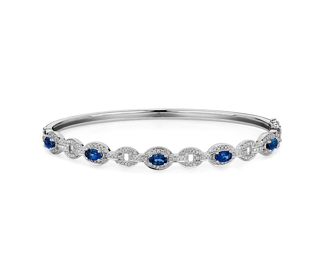 Oval Blue Sapphire and Diamond Bangle in 14k White Gold