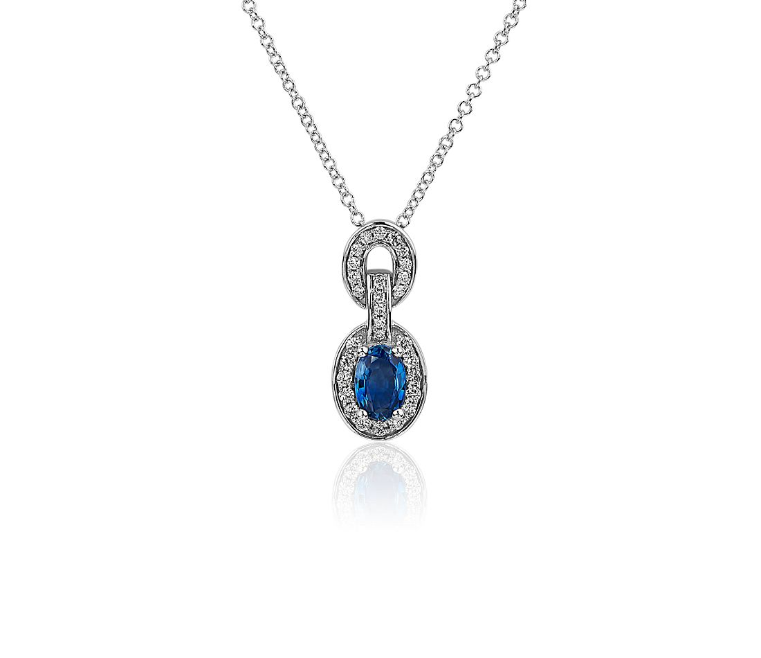 Oval Blue Sapphire and Diamond Pendant in 14k White Gold
