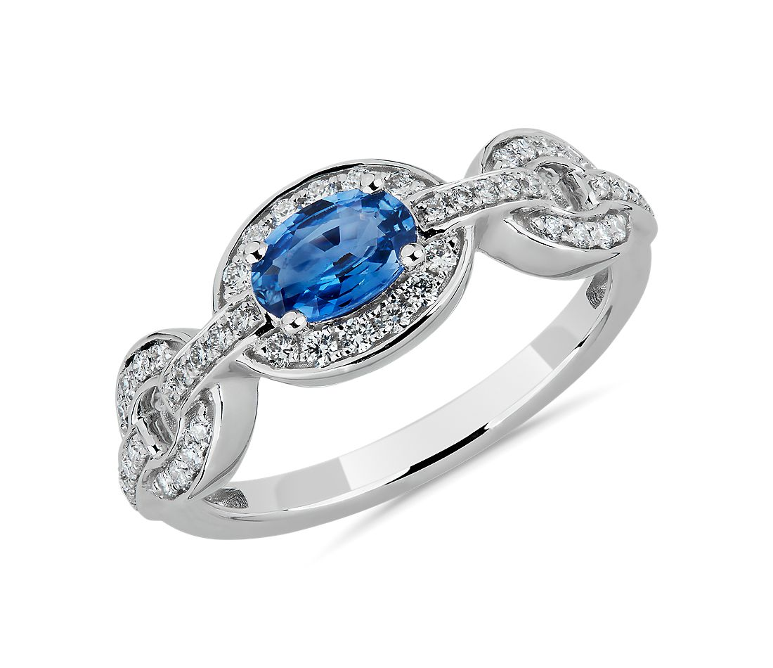 Oval Blue Sapphire and Diamond Ring in 14k White Gold