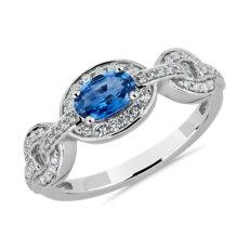 新款 14k 白金椭圆蓝色蓝宝石与钻石戒指