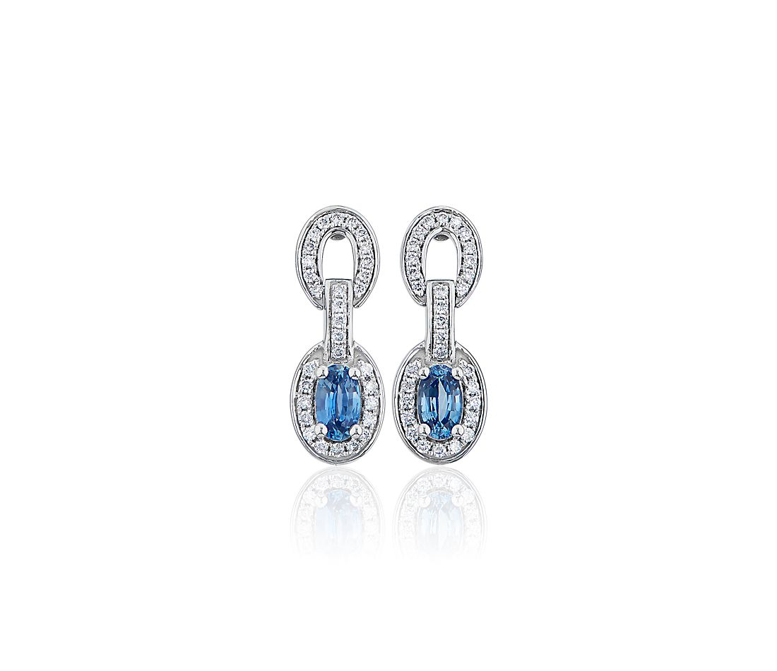 Oval Blue Sapphire and Diamond Earrings in 14k White Gold