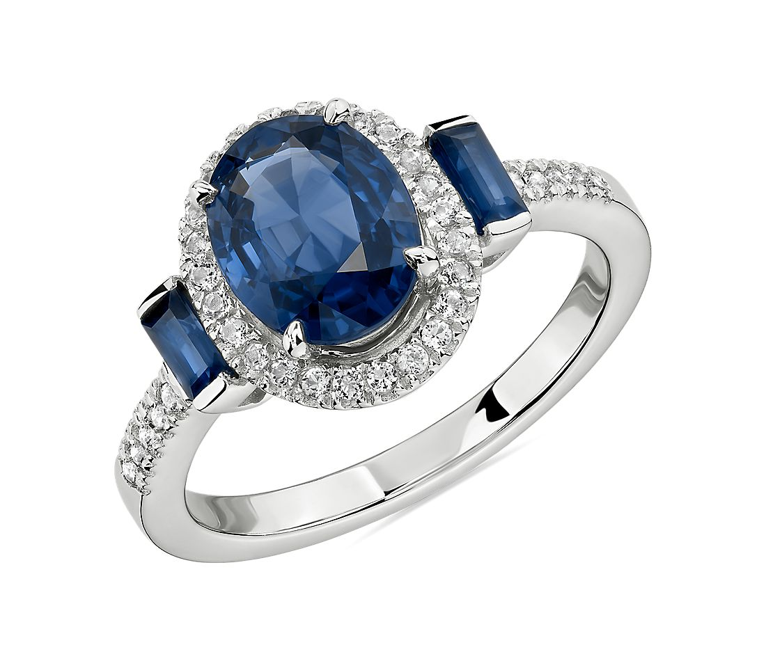 Oval and Baguette Sapphire Ring in 14k White Gold