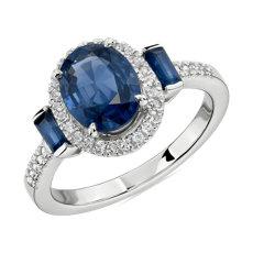 14k 白金椭圆形加长方形蓝宝石戒指