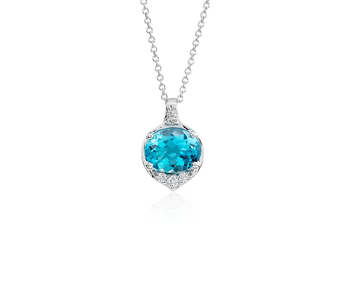 Oval Blue Topaz and Diamond Pendant in 14k White Gold (10x8 mm)