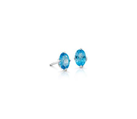 925 純銀 橢圓形藍色托帕石釘款耳環<br>( 6x4毫米)