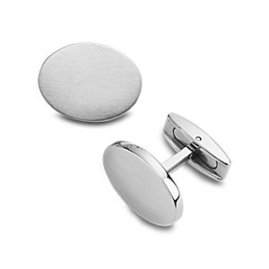 Oval Cuff Links in Brushed Stainless Steel