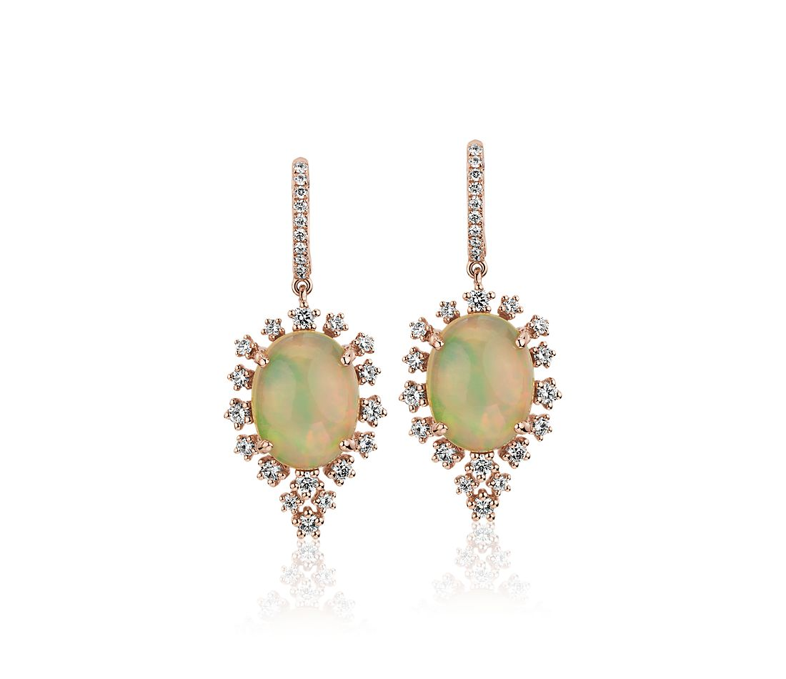 Oval Cabochon Opal Drop Earrings with Diamond Sunburst Halo - 18k Rose Gold