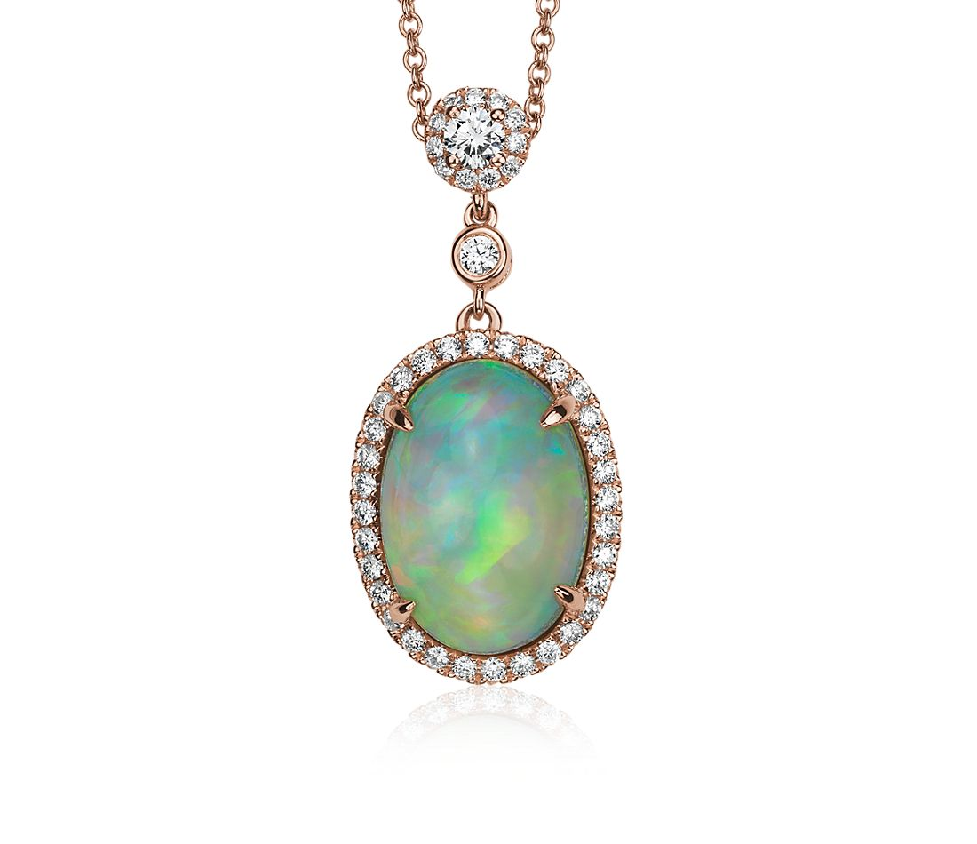 Oval Cabochon Opal Pendant with Diamond Halo & Bezel Chain - 18k Rose Gold