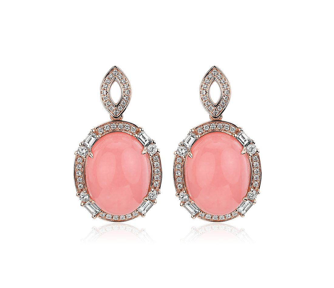 Oval Cabochon Pink Opal Drop Earrings with Baguette Diamond Halo - 18k Rose Gold