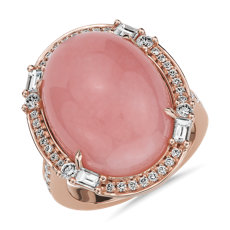 Oval Cabochon Pink Opal Ring with Baguette Diamond Halo - 18k Rose Gold