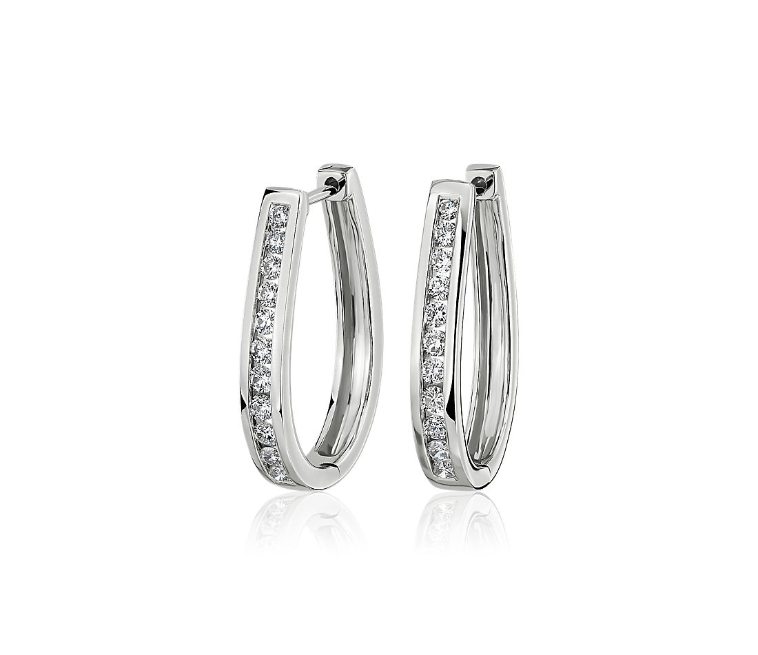 Oval Channel Set Hoop Earrings in 14k White Gold (1/2 ct. tw.)