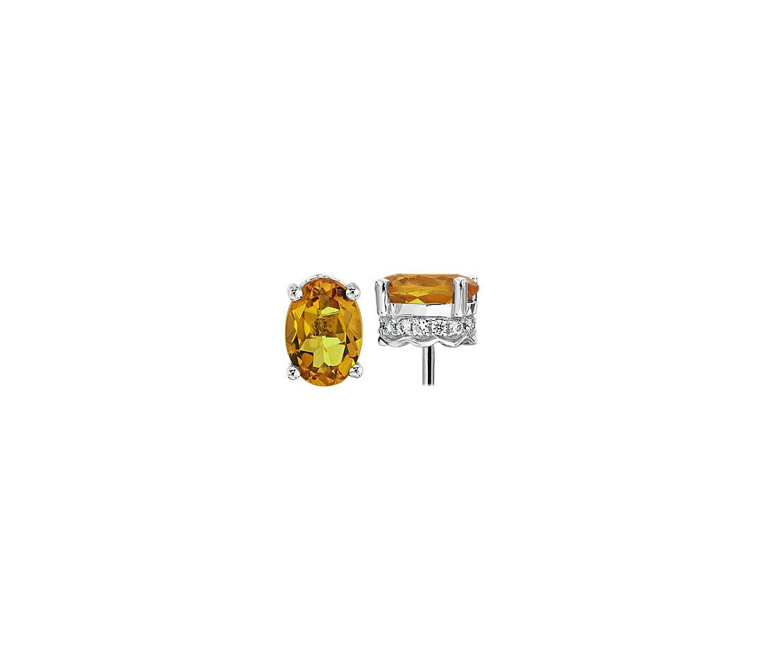 Oval Citrine and Diamond Earrings in 14k White Gold (7x5mm)