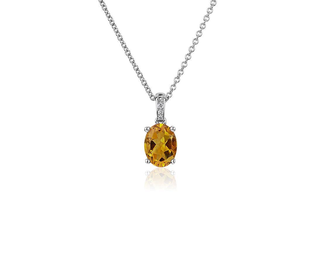 Oval Citrine and Diamond Pendant in 14k White Gold (8x6mm)