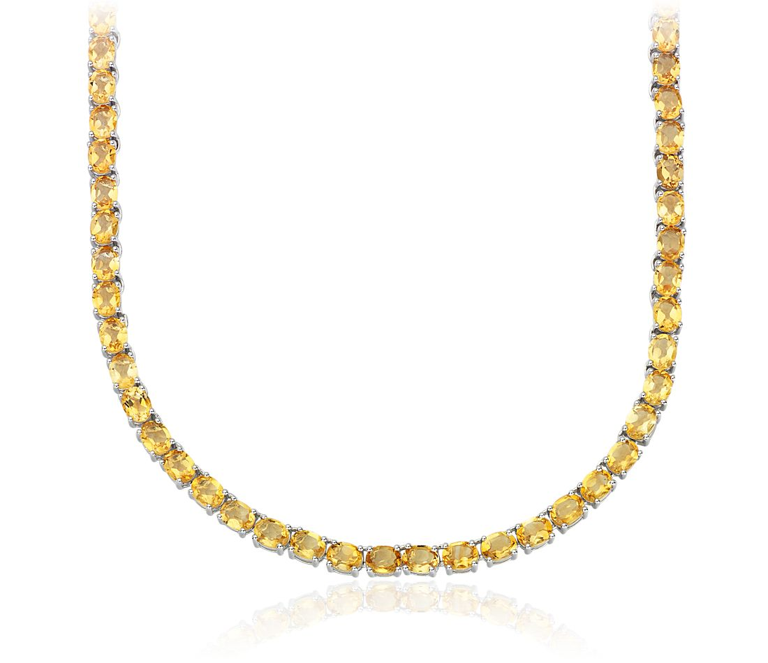 Oval Citrine Eternity Necklace in Sterling Silver (5x4mm)