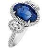 Bague trois pierres diamants et saphir bleu taille ovale en or blanc 18carats