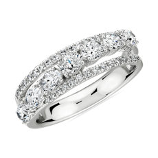 NEW Oval-Cut Diamond Crossover Anniversary Ring in 14k White Gold - H/SI1 (1.22 ct. tw.)