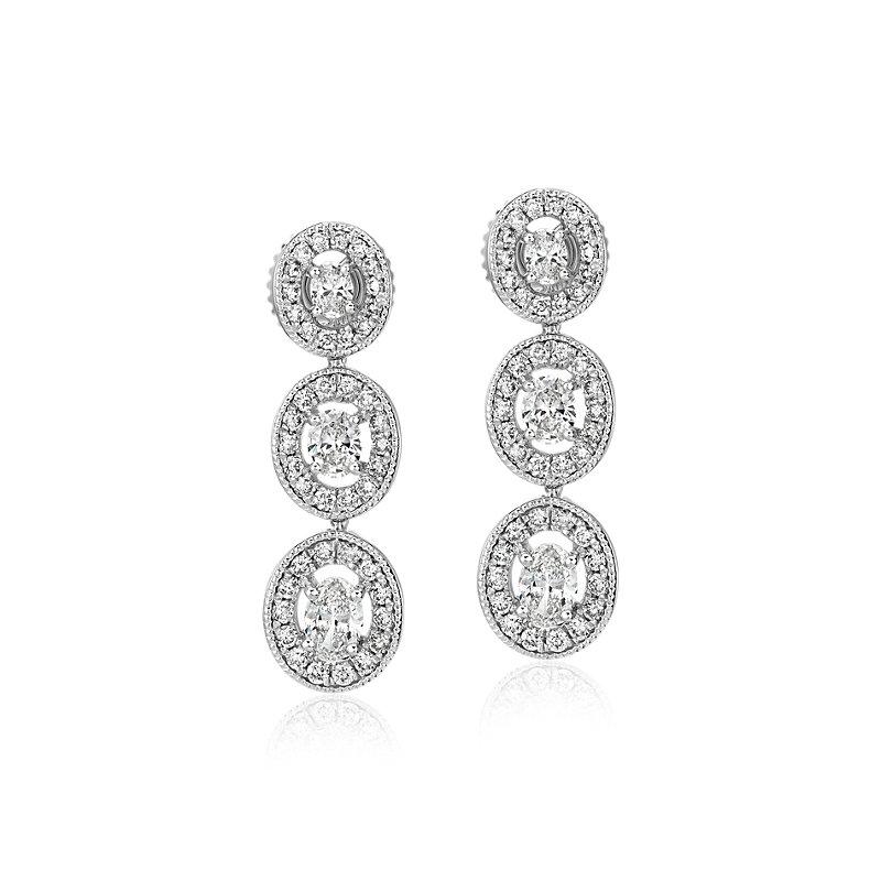 Oval-Cut Diamond Halo Drop Earrings in 14k White Gold (1 ct. tw.)