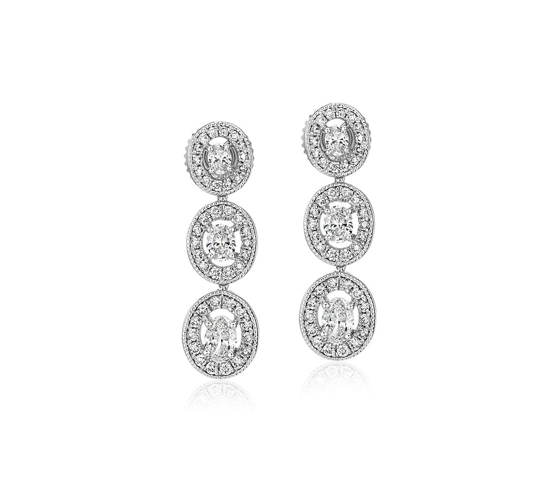 Oval-Cut Diamond Halo Drop Earrings in 14k White Gold (1 ct. tw.)