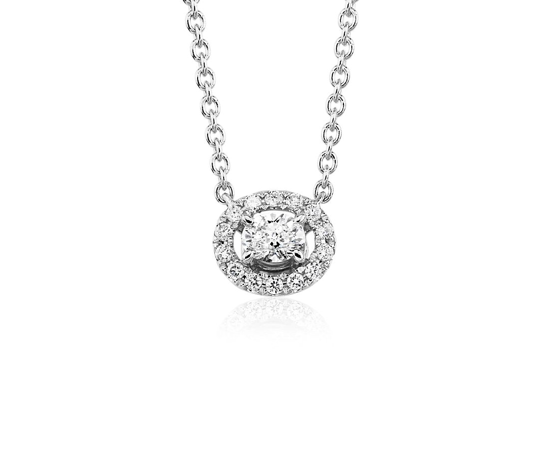 Oval-Cut Diamond Halo Pendant in 14k White Gold (1/6 ct. tw.)