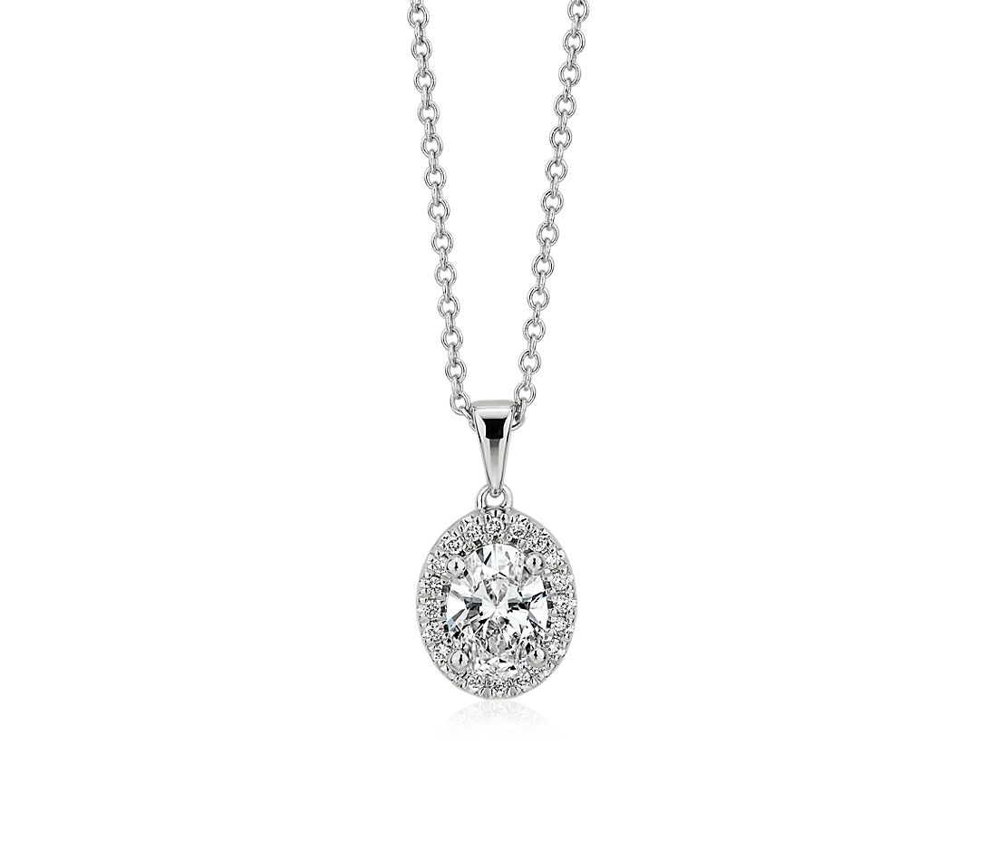 Oval-Cut Diamond Halo Pendant in 14k White Gold (0.82 ct. tw.)