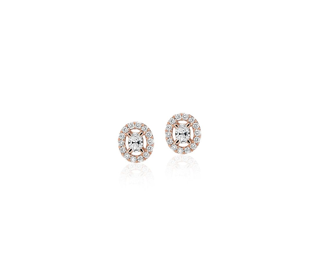 Oval-Cut Diamond Halo Stud Earrings in 14k Rose Gold