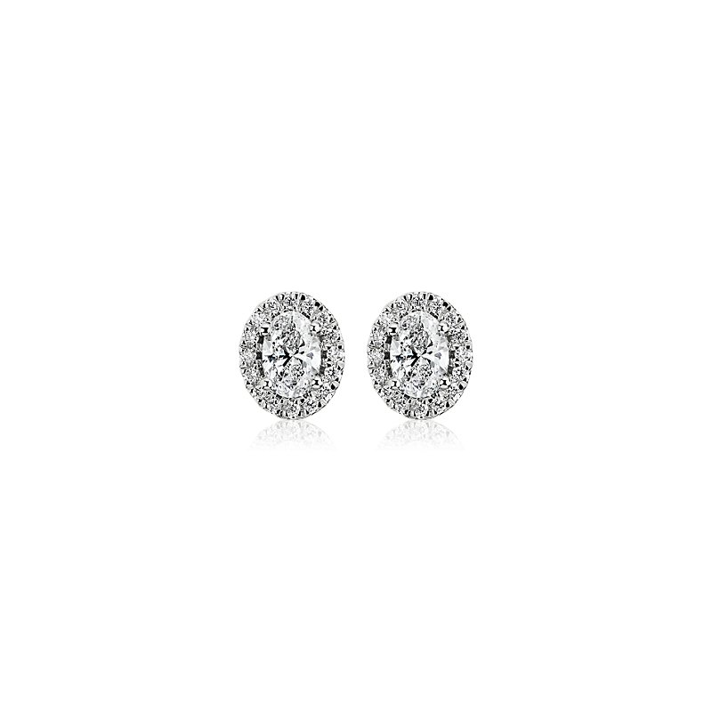 Oval-Cut Diamond Halo Stud Earrings in 14k White Gold (3/4 ct. tw