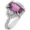 18k 白金椭圆形切割粉红蓝宝石和半月形钻石戒指