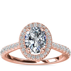 Oval Diamond Bridge Halo Diamond Engagement Ring in 14k Rose Gold
