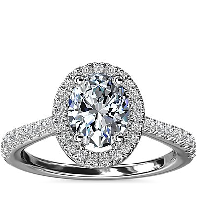 Oval Diamond Bridge Halo Diamond Engagement Ring in 14k White Gold (1/3 ct. tw.)