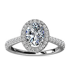 NEW Oval Diamond Bridge Halo Diamond Engagement Ring in 14k White Gold (1/3 ct. tw.)