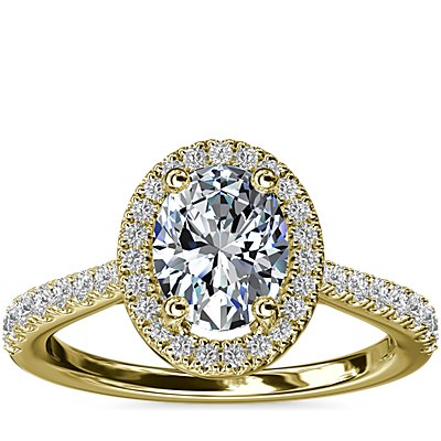 NEW Oval Diamond Bridge Halo Diamond Engagement Ring in 14k Yellow Gold