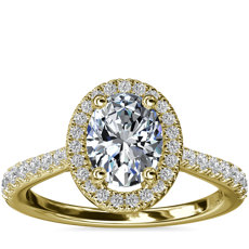 Oval Diamond Bridge Halo Diamond Engagement Ring in 14k Yellow Gold