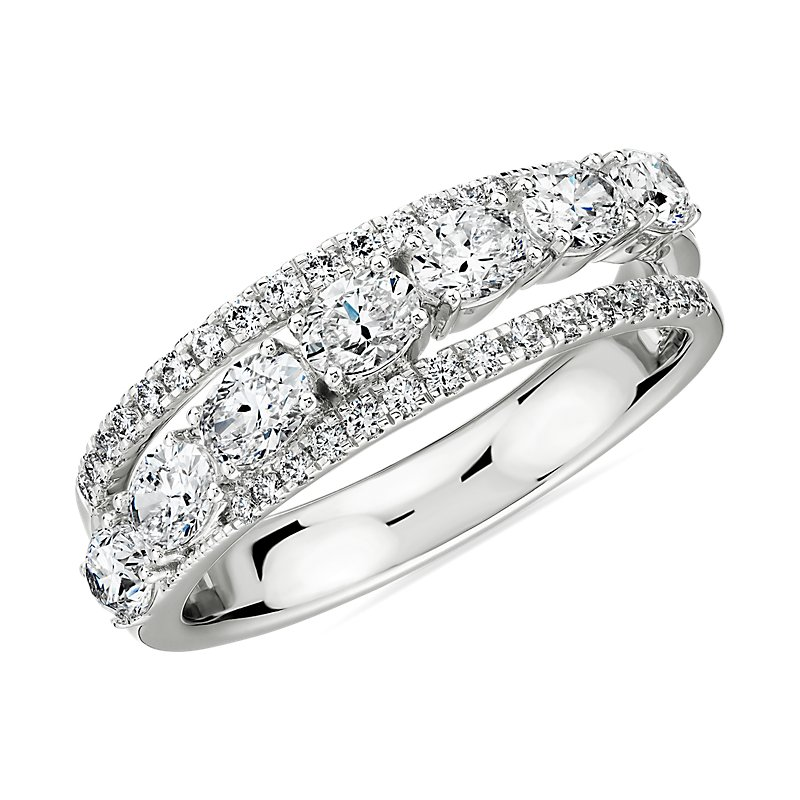 Oval Diamond Crossover Wedding Band in 18k White Gold- I/VS2 (1 1