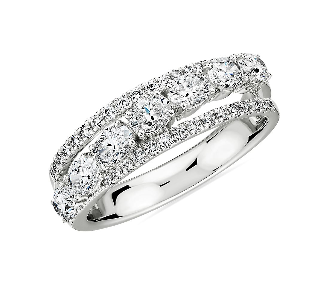 Oval Diamond Crossover Wedding Band in 18k White Gold- I/VS2 (1 1/4 ct. tw.)