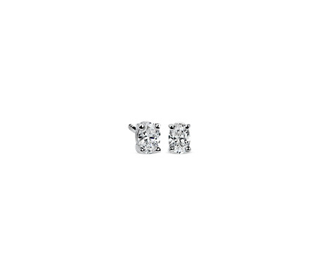 Oval Diamond Stud Earrings in 14k White Gold (0.46 ct. tw.)
