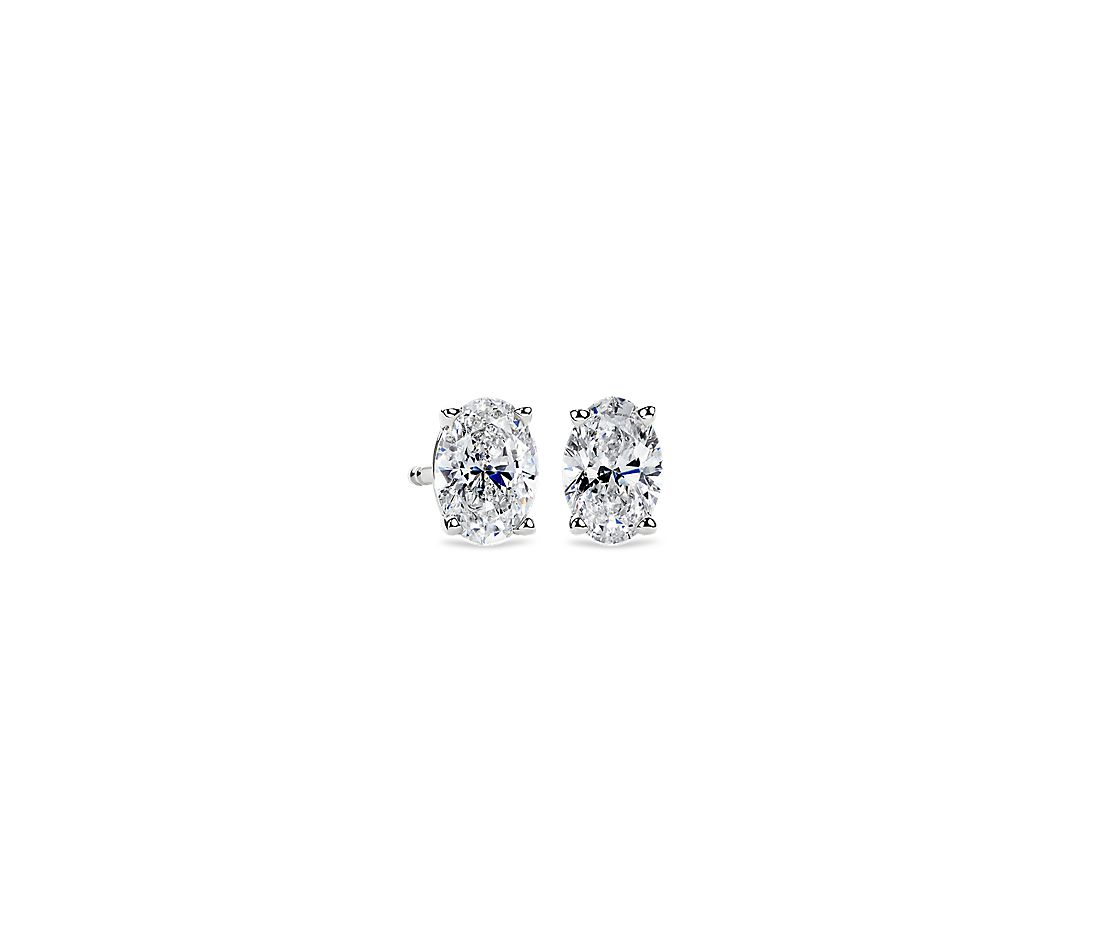 Oval Diamond Stud Earrings In 14k White Gold 1 Ct Tw