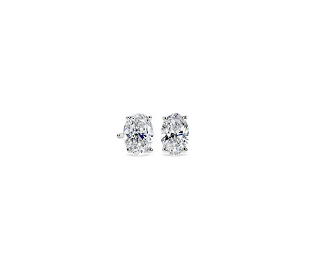 1-carat Oval Diamond Stud Earrings in 14k White Gold