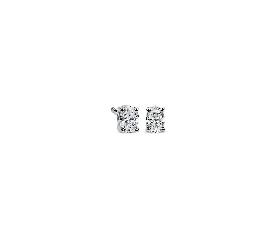 Diamond Oval Stud Earrings in 18k White Gold